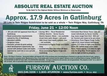 Approx. 17.9 Acres in Gatlinburg - Furrow Auction Company