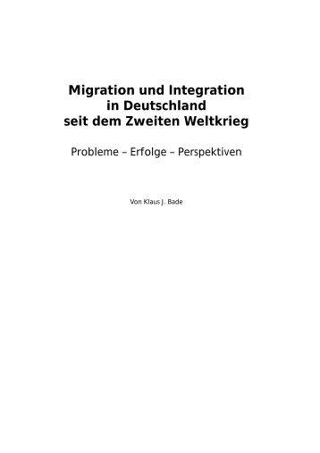 Migration und Integration in Deutschland seit dem Zweiten ...