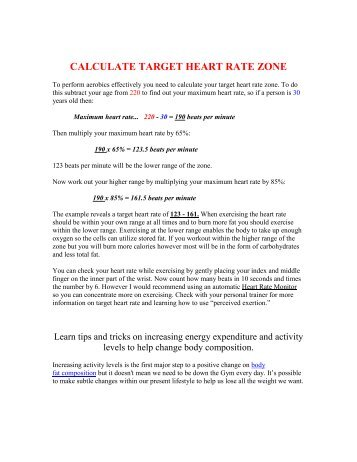 Calculations Calculate The Clients Target Heart Rate Using The