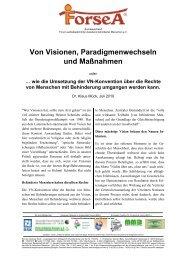 Von Visionen, Paradigmenwechseln und Maßnahmen oder - ForseA