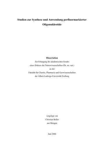 Studien zur Synthese und Anwendung perfluormarkierter ...