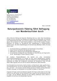 Naturparkverein Fläming führt Befragung von Wandertouristen durch