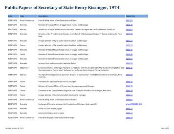Public Papers of Secretary of State Henry Kissinger, 1974