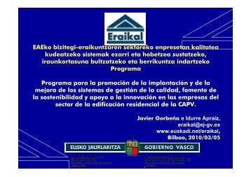 presentación de Eraikal - Garraioak - Euskadi.net