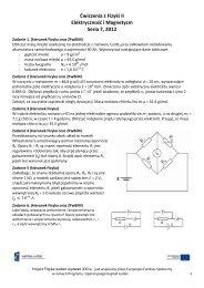 Ćwiczenia z Fizyki II Elektryczność i Magnetyzm Seria 7, 2012