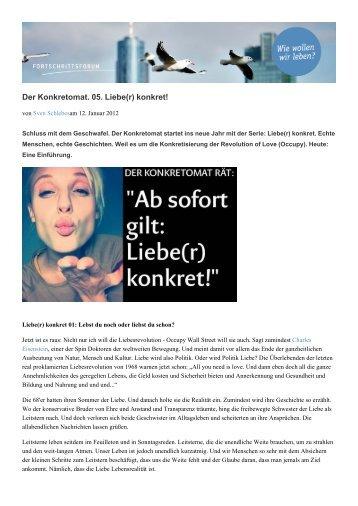 Der Konkretomat. 05. Liebe(r) konkret! - Fortschrittsforum