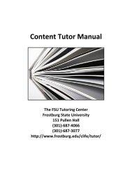 Content Tutor Manual - Frostburg State University