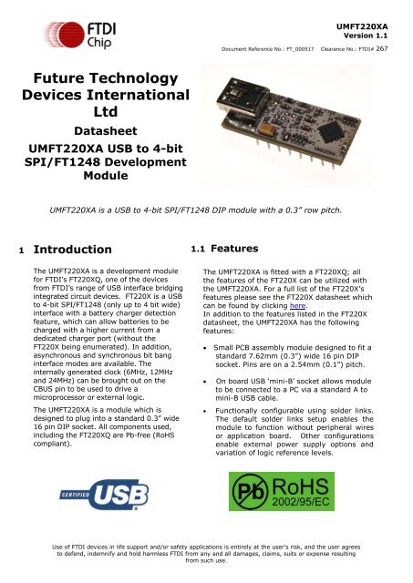 UMFT220XA USB to 4-bit SPI/FT1248 Development Module - FTDI