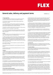General sales, delivery and payment terms - FLEX