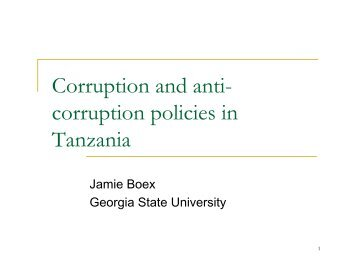 Corruption and anti- corruption policies in Tanzania - Fiscal Reform