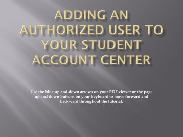 Adding an Authorized User to Your Student Account Center