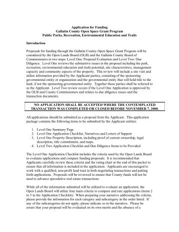 Application for Funding Gallatin County Open Space Grant Program ...