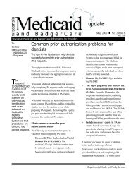 Wisconsin Medicaid and BadgerCare Update 2000-16
