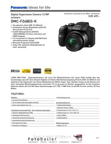 Datenblatt DMC-FZ48EG-K - Foto Basler Aarau