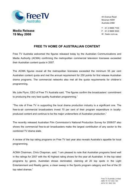 Related PDF document - Free TV Australia