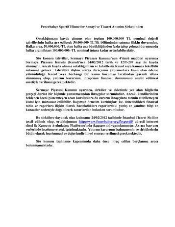 Fenerbahçe Sportif Halka Arzı - Garanti Bankası