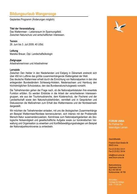 Programm Wangerooge Juni 2009 - forum unna