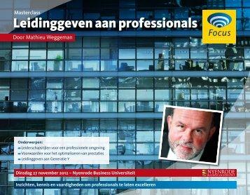 Leidinggeven aan professionals - Focus Conferences