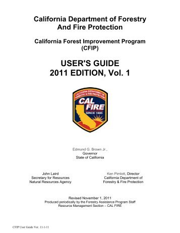USER'S GUIDE 2011 EDITION, Vol. 1 - Cal Fire - State of California