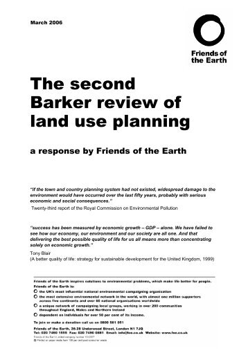 The second Barker review of Land use planning - Friends of the Earth