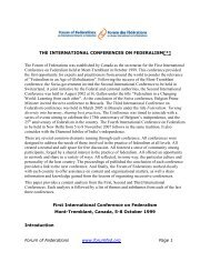 the international conferences on federalism[*] - Forum of Federations