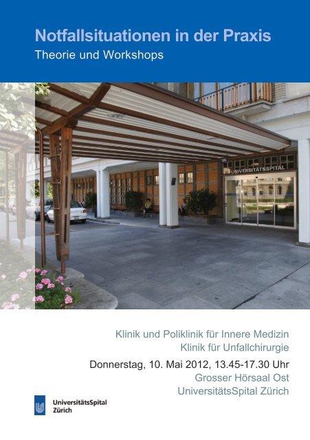 Notfallsituationen in der Praxis - Fortbildung - UniversitätsSpital Zürich