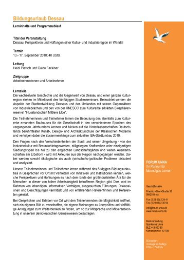 Programm Dessau 2010 - Forum Unna