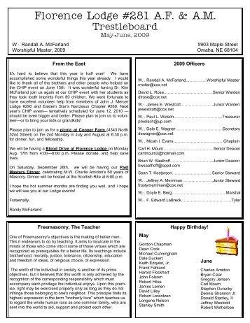 June, 2013 Trestleboard - Florence Masonic Lodge No. 281