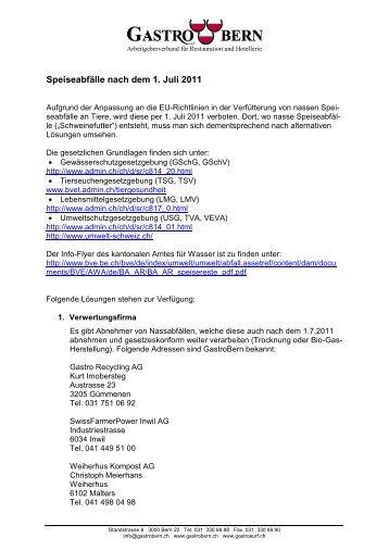 Speiseabfälle nach dem 1. Juli 2011 - GastroBern