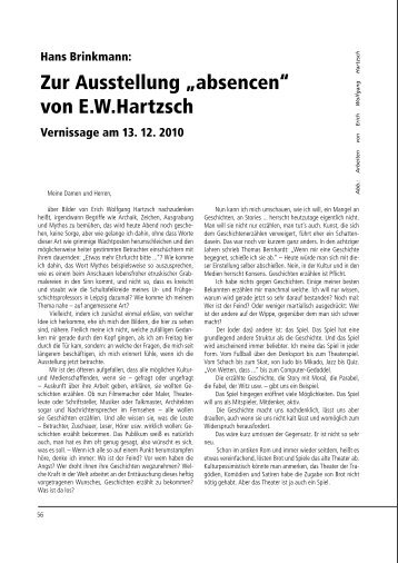 """Zur Ausstellung """"absencen"""" von E.W.Hartzsch - Galerie Laterne"""