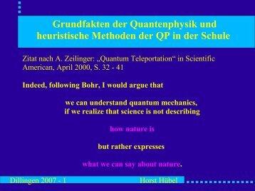 Grundfakten der Quantenphysik und heuristische Methoden der QP ...