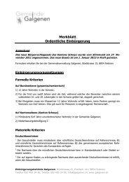 Merkblatt Ordentliche Einbürgerung - Galgenen