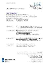 Lunch-Symposium - Fortbildung - UniversitätsSpital Zürich