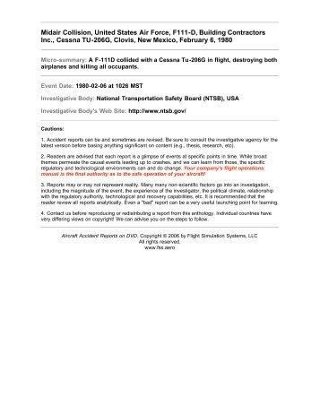 Midair Collision, United States Air Force, F111-D, Building ... - Fss.aero