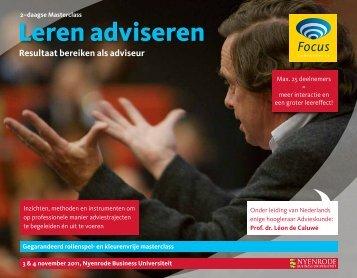 Leren adviseren Resultaat bereiken als adviseur - Focus Conferences