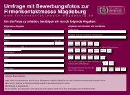 Umfrage- und Ankündigungskarte - Firmenkontaktmesse Magdeburg