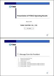 Presentation of FY2012 Operating Results [PDF:570KB] - Funai