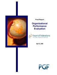 Organizational Performance Evaluation - Forum of Federations