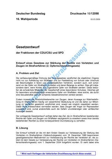 Gesetzentwurf der Fraktionen CDU/CSU und SPD - Deutscher ...