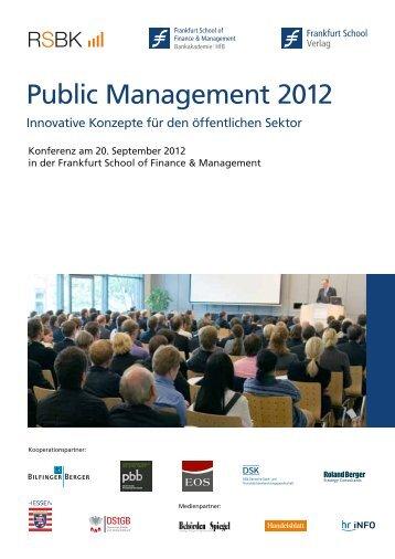 Public Management 2012 - Frankfurt School Verlag