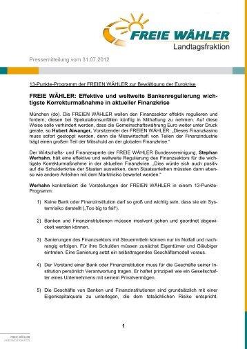Pressemitteilung vom 06 - Freie Wähler Bayern