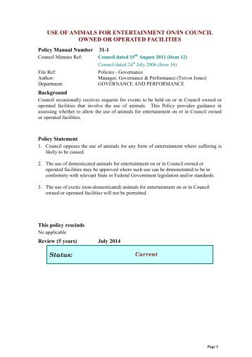 GCC Policy Template - Glenorchy City Council