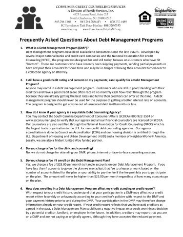 Frequently Asked Questions About Debt Management Programs
