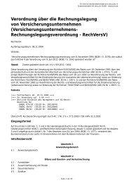 Versicherungsunternehmens- Rechnungslegungsverordnung - RechV