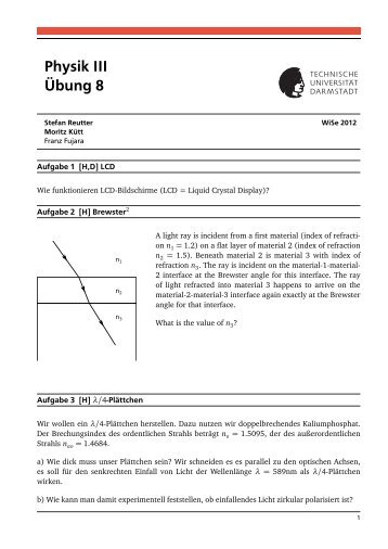 Physik III Übung 8