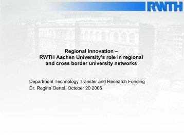 Regional Innovation – RWTH Aachen University's role in regional ...