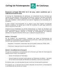 Resolució 003/2012 - Col·legi de Fisioterapeutes de Catalunya