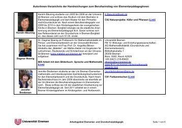 AutorInnengesamtverzeichnis - Universität Bremen