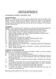 Garanti Articles of Association