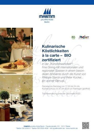 """in der """"Künstlerwerkstatt"""". Fine Dining mit internationalen und ..."""